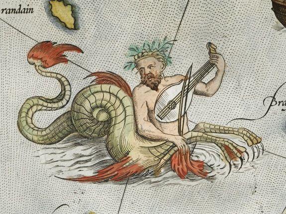 欧洲古代航海图显示神秘海怪图片