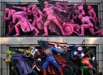 苏联红军雕像被玩坏