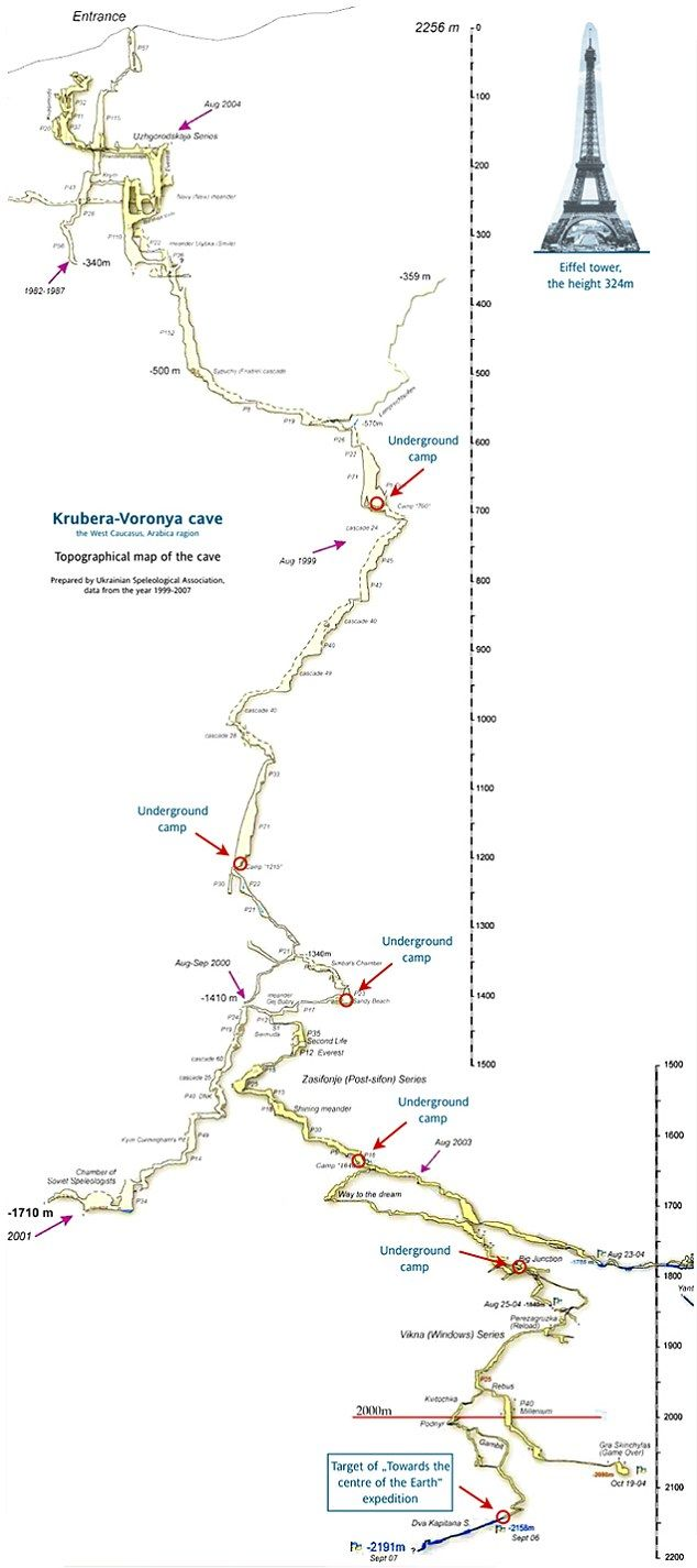 世界最深洞穴地图出炉