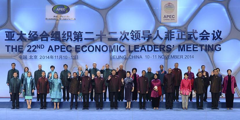 习近平夫妇同APEC领导人夫妇集体合影