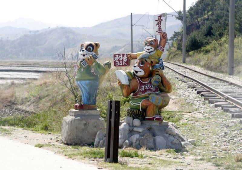街头 纪念 碑 朝鲜 军人 在 站岗 的 朝鲜 军人