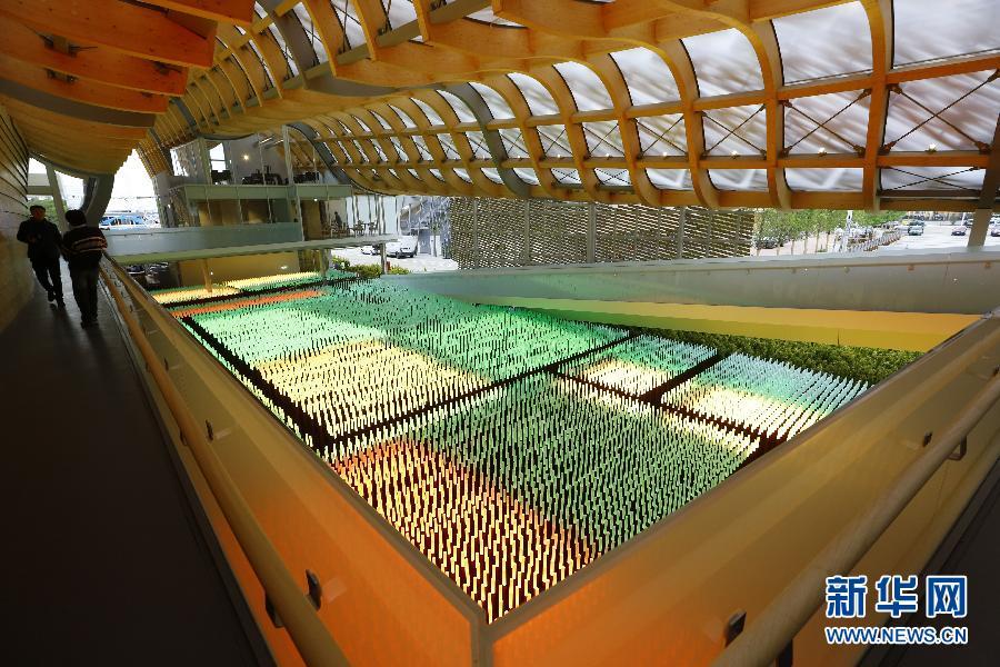 """是在意大利米兰世博园中国馆内拍摄的人工""""麦穗""""LED灯形成的农"""