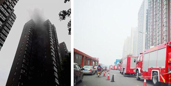 常德一小区起火 24层高楼被浓烟笼罩