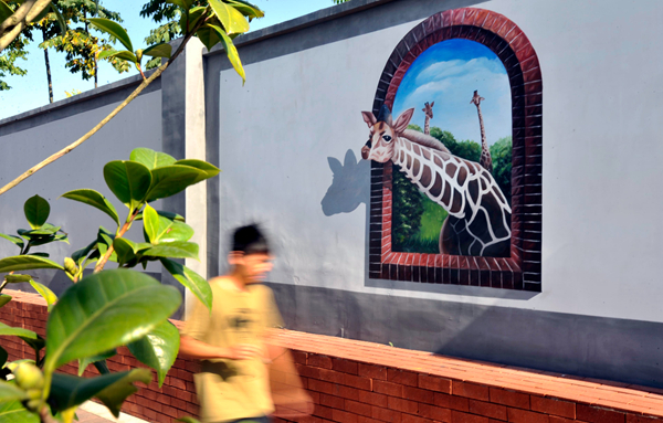 """长沙县围墙上的""""动物园"""""""