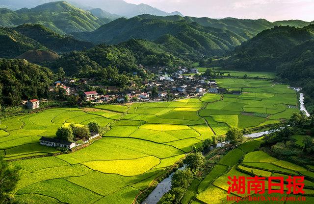 8月9日,阳光下的麻阳苗族自治县大桥江乡豪侠坪村,田园风景如画.