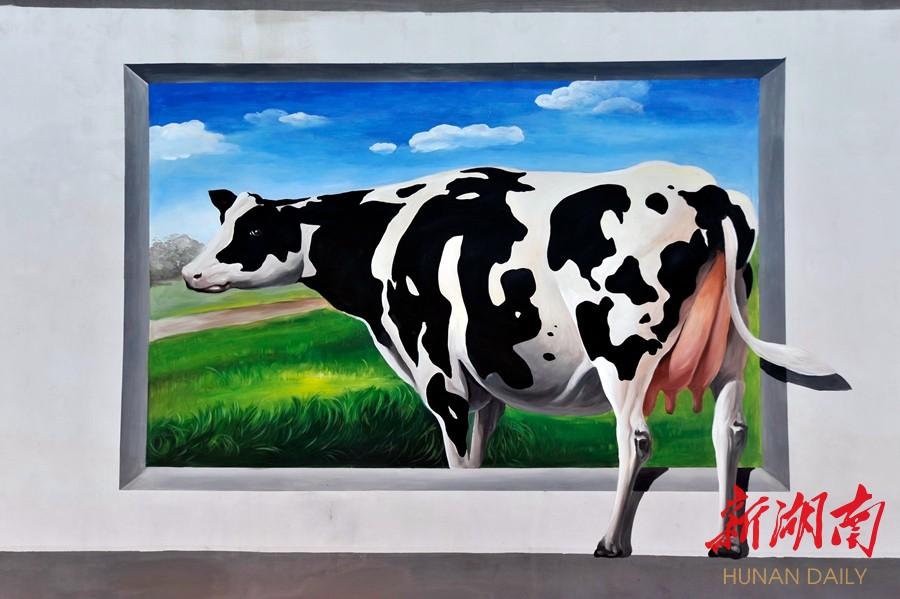 围墙上的3d动物画形象逼真