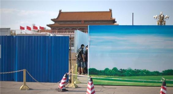 组图:北京阅兵进入倒计时 天安门广场紧张施工