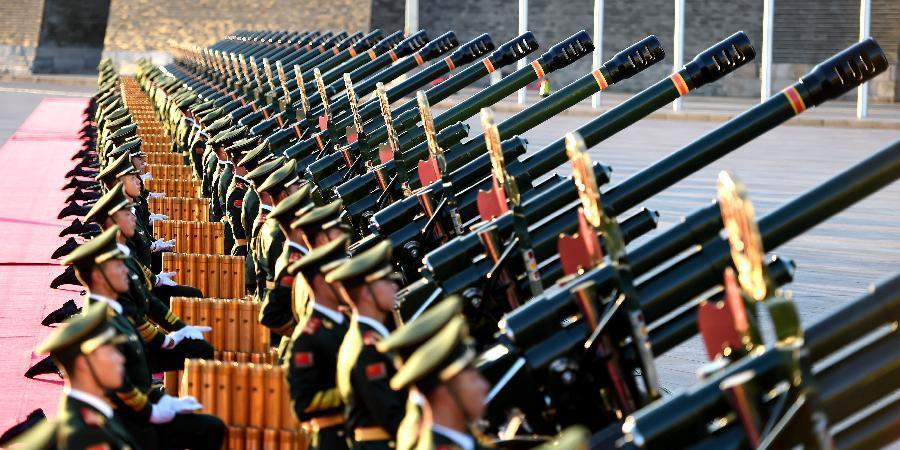 礼炮阵地准备就绪 静候纪念大会开始