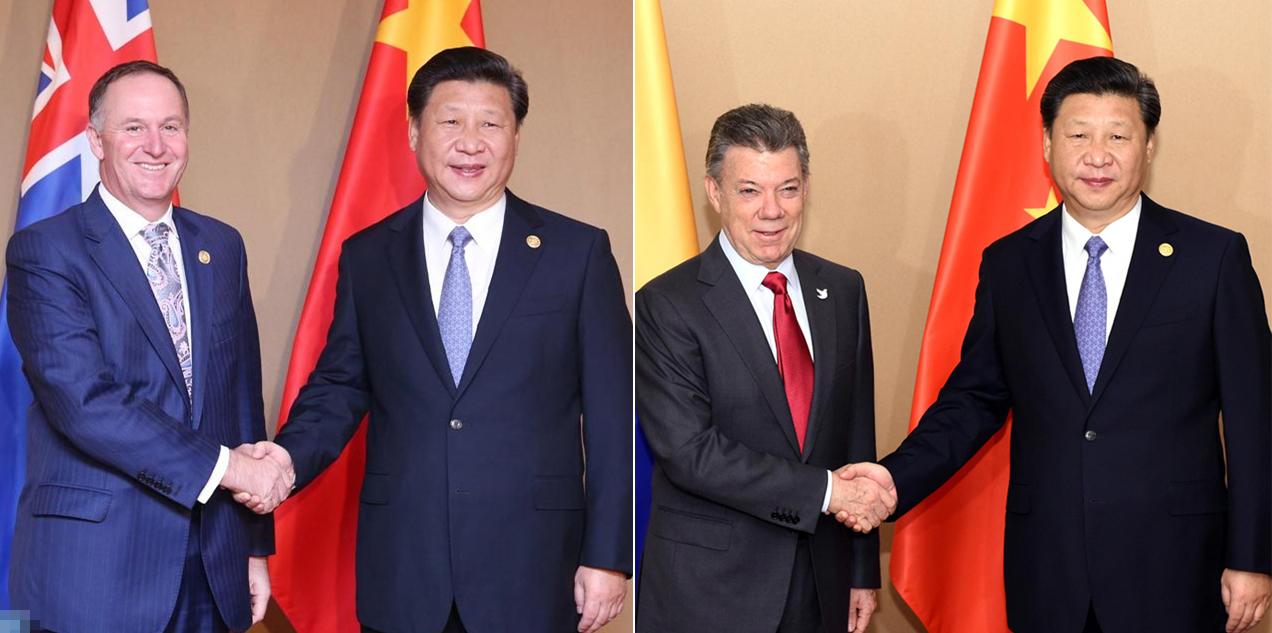 习近平会见新西兰总理、哥伦比亚总统