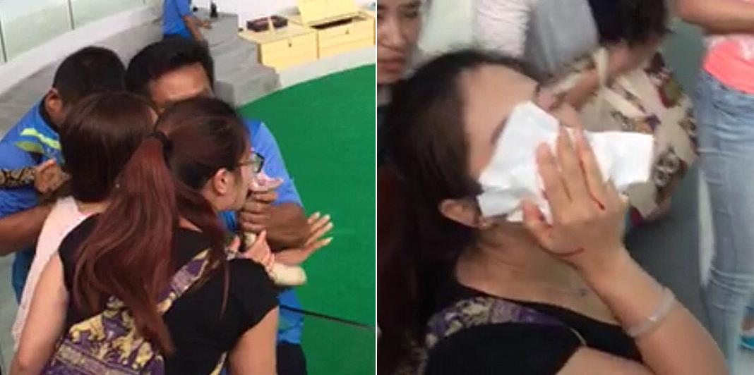 中国女游客在泰国吻蟒蛇被咬鼻子