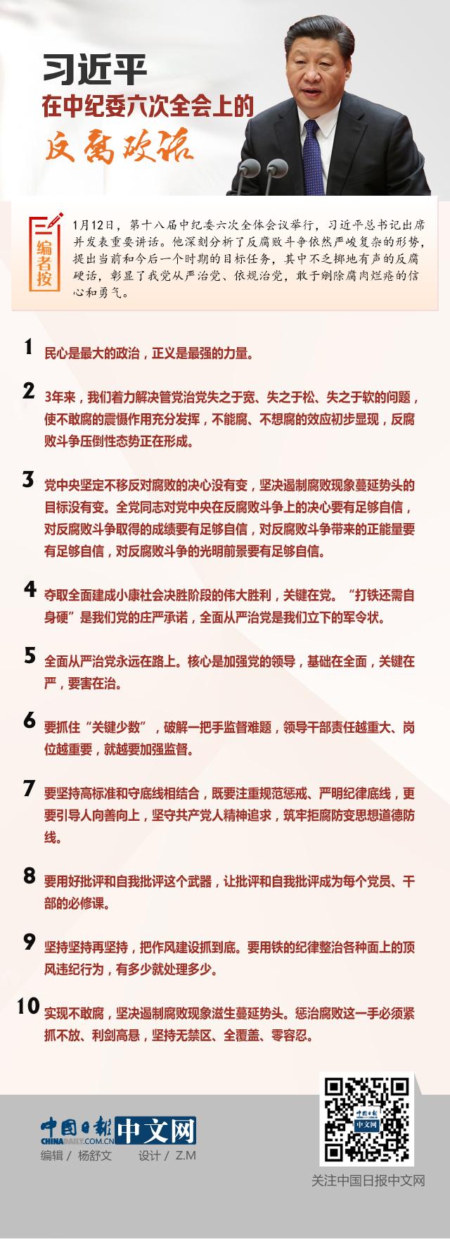 习近平在中纪委六次全会上的十大反腐硬话