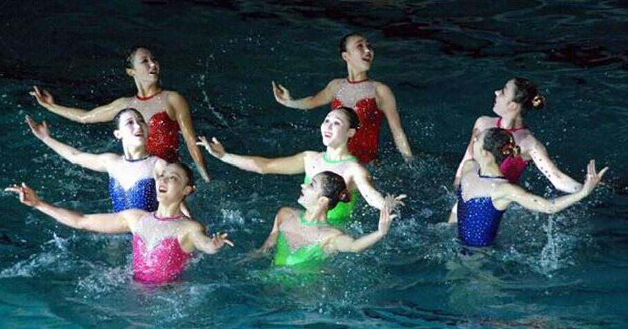 朝鲜美女献水上芭蕾舞表演 纪念金正日诞辰日