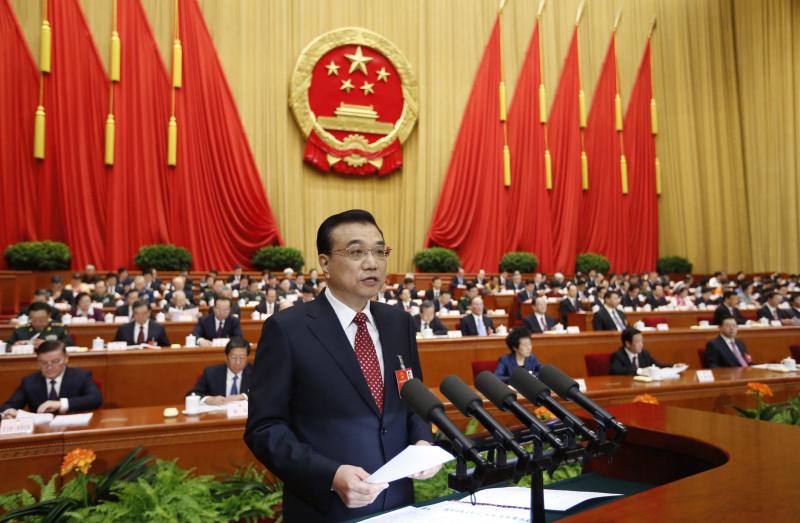 资料图片:3月5日,国务院总理李克强在人民大会堂作政府工作报告。