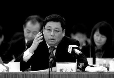 全国人大代表敬大力在北京团第八次全体会议上发言。京华时报记者张斌摄