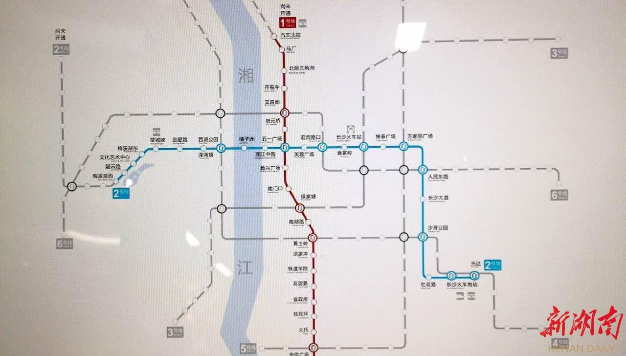 一图看懂长沙地铁1号线站点分布和票价