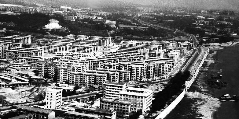 长沙老照片:30年前高空看河西