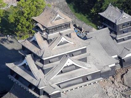 """航拍日本历史文化遗迹""""熊本城""""塌方瞬间"""