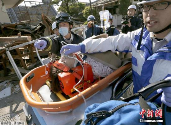 日本熊本县接连强震灾情扩大 已致41人丧生