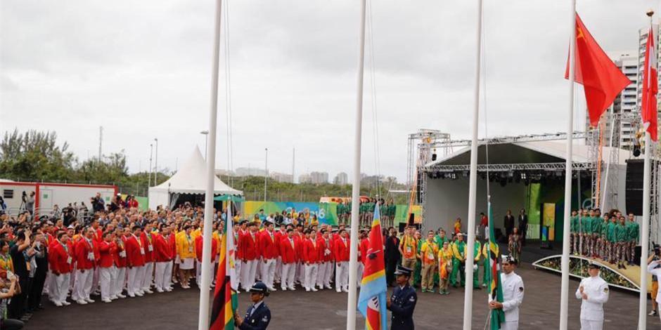 中国奥运代表团举行升旗仪式