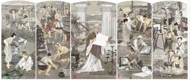 《蔡伦造纸》120x380 纸本 2012年