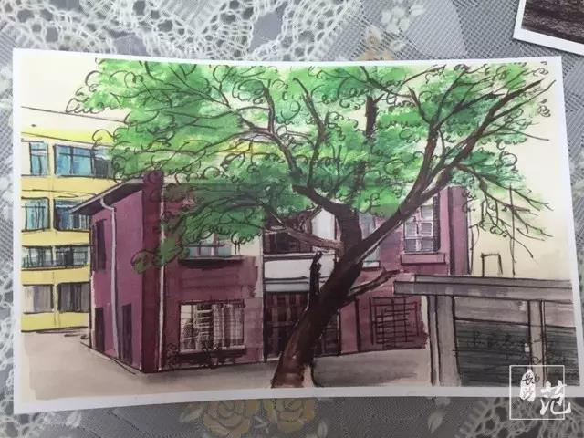 把长沙家门口的风景手绘成明信片