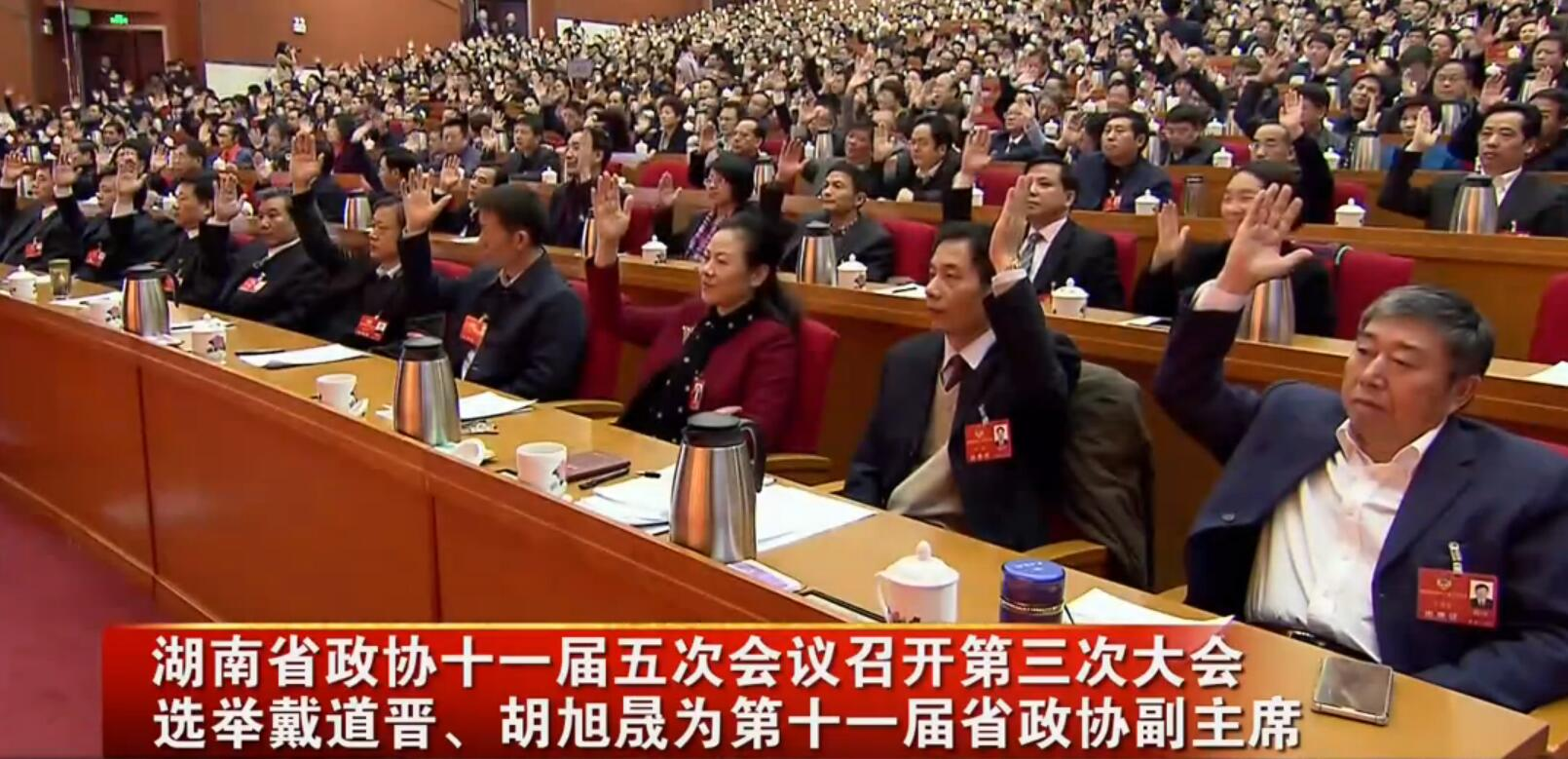 省政协十一届五次会议第三次大会 选举戴道晋、胡旭晟为省政协副主席
