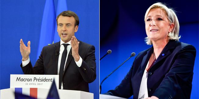 """马克龙和勒庞将进入法国总统选举""""决赛"""""""