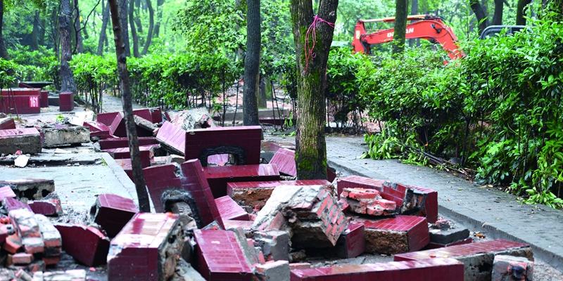 南郊公园拆除161个烧烤台 恢复绿地