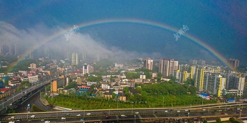 长沙雨后惊现双彩虹 刷爆朋友圈