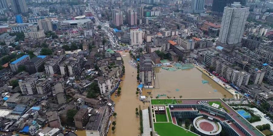 长沙西湖路出现洪水倒灌 部分街道被淹