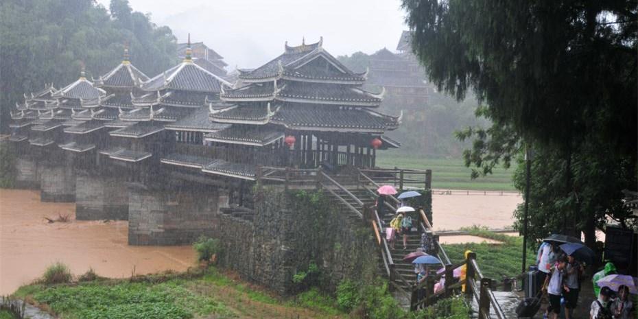 世界历史名桥广西程阳风雨桥被洪水围困