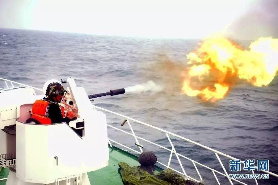 ▲中国海上执法船的舰载武器开火画面