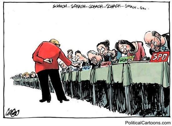 """[""""将军!""""]德国联邦议院大选开锣,在与各党派的对弈中,默克尔领导的联盟党优势明显,在民调中保持大幅领先。各国政界及多项民意调查结果也显示,默克尔连任总理无悬念。(美国报刊漫画家协会网站)"""