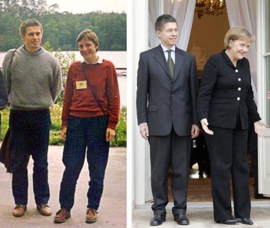 默克尔和丈夫约阿希姆・绍尔在一起,左图拍摄于1989年,右图拍摄于2007年。(法新社)
