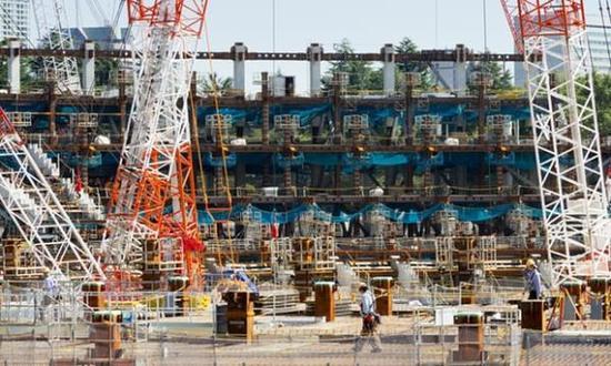东京奥运场馆建设现场。