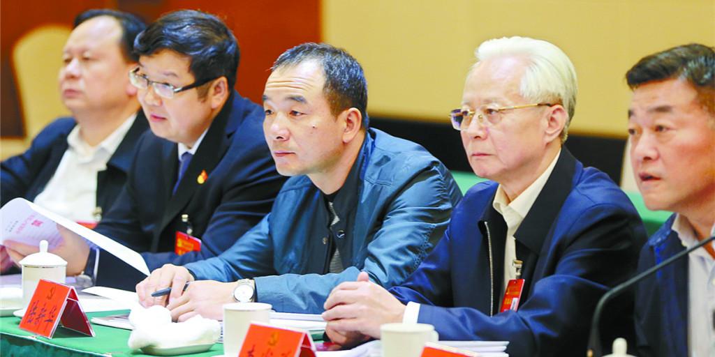 湖南代表团代表认真讨论大会报告
