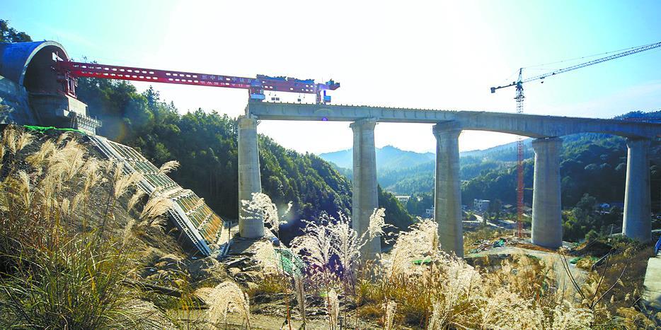 黔张常铁路:冬日施工忙