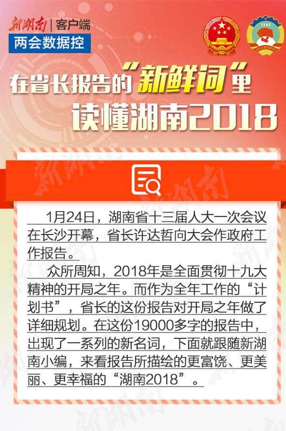 """两会数据控丨在省长报告的""""新鲜词""""里,读懂湖南2018"""
