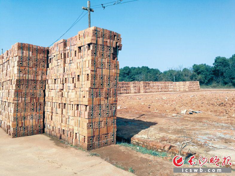 望城区乌山街道双丰村金塘机砖厂被取缔后,场地上只存留着一垛垛未售出的粘土砖。