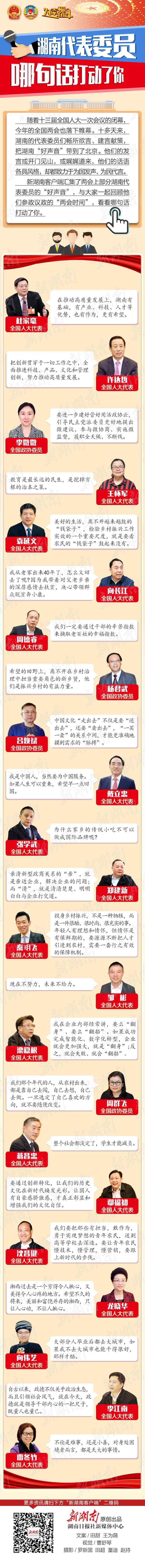湖南代表委员哪句话打动了你?