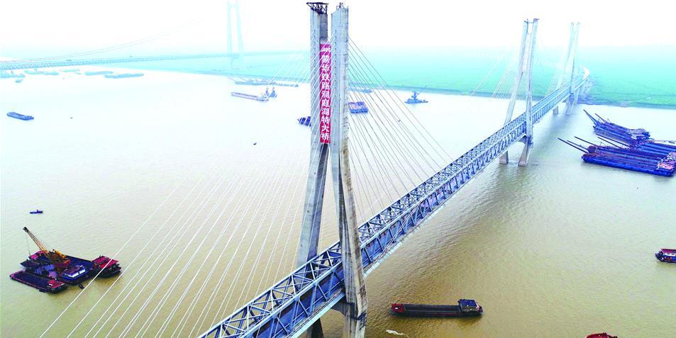 蒙华铁路洞庭湖大桥主体工程全面完工