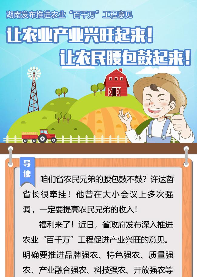 湖南发布推进农业百千万工程意见 让农民腰包鼓起来!