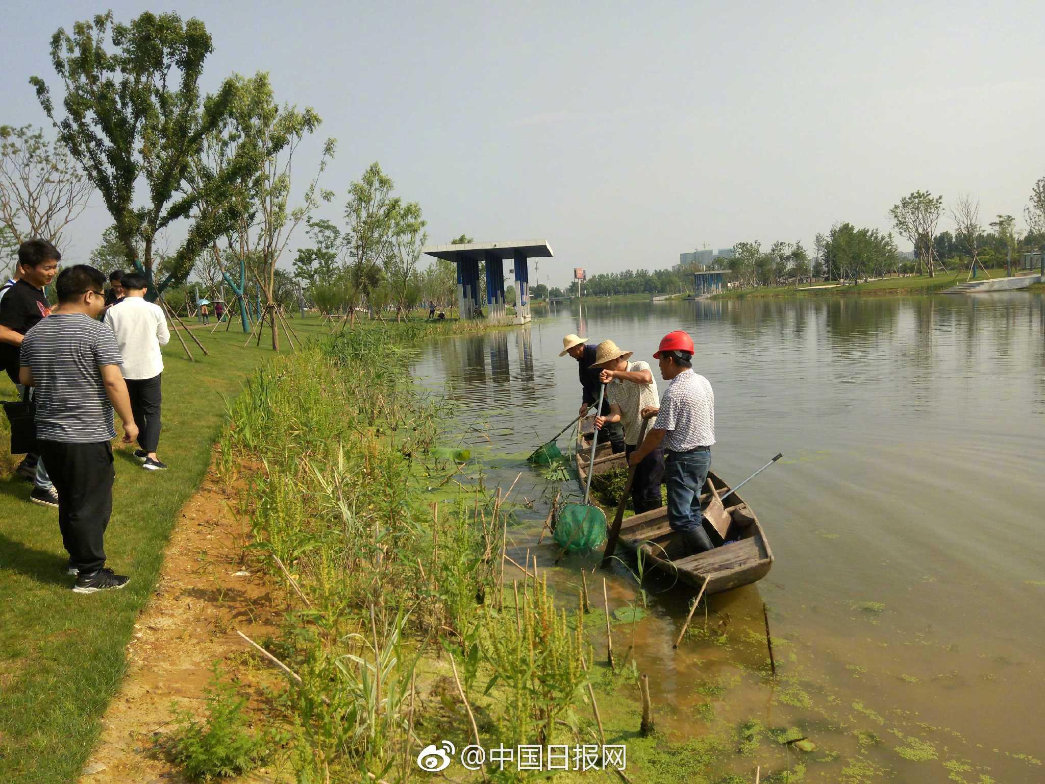采访团参观常德新河水系综合整治项目
