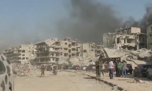 叙利亚小镇一片废墟