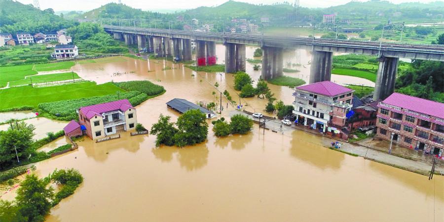 邵阳暴雨 农田被淹