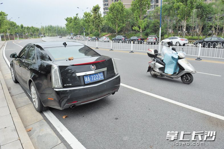 交警部门表示,逆向停车也属于交通违法行为。均为长沙晚报记者 小刘军 摄