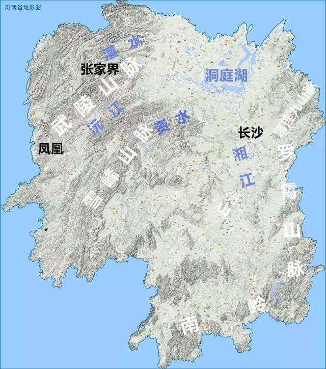 湖南地�_(湖南省地形图,地图源自@地之图网站,星球研究所标注)