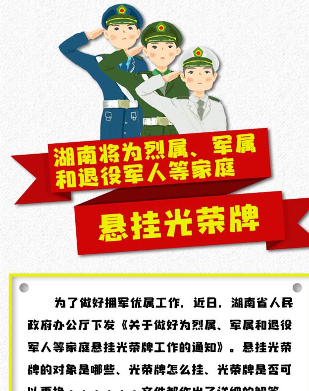 【图解】湖南将为烈属、军属和退役军人等家庭悬挂光荣牌