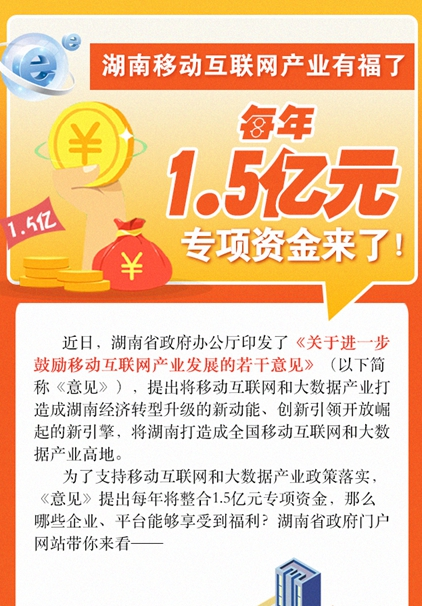 【图解】湖南移动互联网产业有福了,每年1.5亿元专项资金来了!