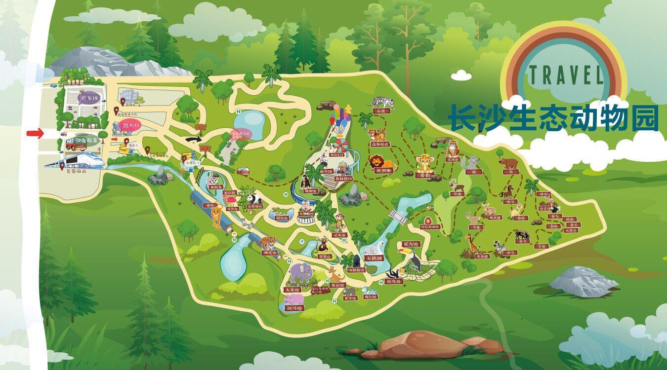 长沙生态动物园游园地图